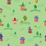 Cute colorful houses seamless pattern. Vector illustration. Stock Image