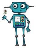 Cute cartoon robot holding a flower Stock Photos