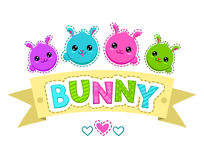 Cute colorful kids illustration. With bunny faces,  template for t-shirt design Stock Photos