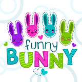 Cute colorful kids illustration with bunny faces Stock Image