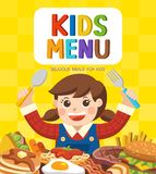 Cute colorful kids meal menu. stock illustration