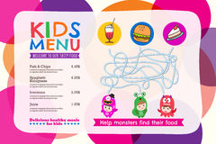 Cute colorful kids meal menu placemat with circle background vector illustration