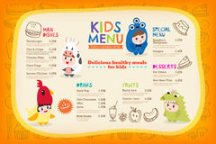 Cute Colorful Kids Meal Menu Template Royalty Free Stock Photography