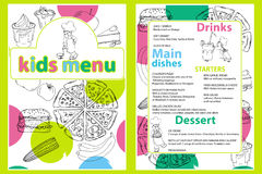 Cute colorful kids meal menu  template with funny cartoon kitchen boy. Different types of dishes on a hand drawn grocery bac Stock Photos
