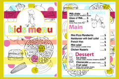 Cute colorful kids meal menu template with funny cartoon kitchen boy. Different types of dishes on a hand drawn grocery bac. Kground vector illustration
