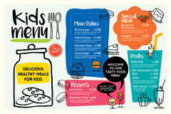 Cute colorful kids meal menu template. Cute colorful kids meal menu placemat vector template stock illustration