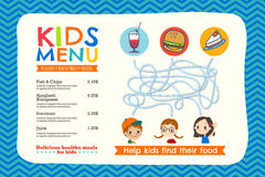 Cute colorful kids meal menu template. Cute colorful kids meal menu placemat vector template Royalty Free Stock Photo
