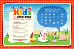 Cute colorful kids meal menu template. Cute colorful kids meal menu placemat vector template with animals cartoon and crossword puzzle royalty free illustration