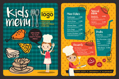 Cute colorful kids meal menu template Royalty Free Stock Photos
