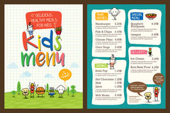 Cute colorful kids meal menu template. Cute colorful kids meal menu vector template royalty free illustration