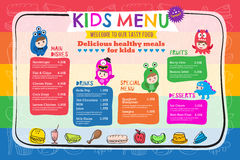 Cute colorful kids meal menu template. Cute colorful vibrant kids meal menu placemat vector template Stock Images