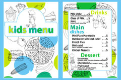 Cute colorful kids meal menu vector template with funny cartoon kitchen boy. Different types of dishes on a hand drawn Royalty Free Stock Photo