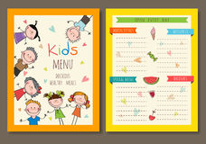 Cute colorful kids meal menu vector template. Graphics drawn by hand royalty free illustration