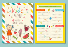 Cute colorful kids meal menu vector template Royalty Free Stock Photography