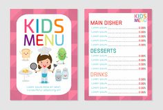 Cute colorful kids meal menu vector template, kids menu, Cute colorful kids meal menu design Stock Photo