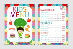 Cute colorful kids meal menu vector template, kids menu, Cute colorful kids meal menu design vector illustration
