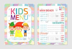 Cute colorful kids meal menu vector template, kids menu, Cute colorful kids meal menu design Stock Images