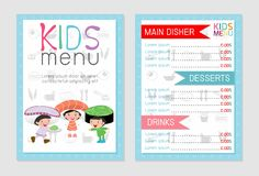 Cute colorful kids meal menu vector template, kids menu, Cute colorful kids meal menu design. Children menu, menu for kids template, Cafe menu for kids royalty free illustration