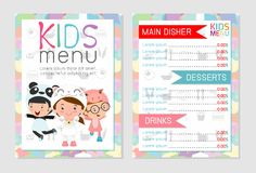 Cute colorful kids meal menu vector template, kids menu, Cute colorful kids meal menu design. Children menu, menu for kids template, Cafe menu for kids Stock Photography