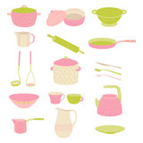 Cute colorful kitchen utensil set. Crockery polka dot pink, green set Stock Photos