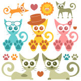 Cute colorful kittens set Stock Photography