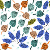 Cute colorful leaf seamless pattern and seamless pattern in swat Stock Photography