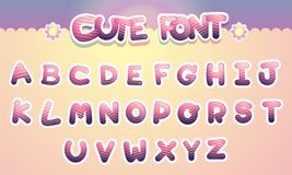 Cute colorful letters alphabet Funny Font. Cartoon vector illustration. Stock Photos