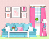 Cute colorful living room interior design with furniture. Retro style room. Royalty Free Stock Image