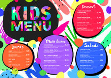 Cute colorful meal kids menu template with colorful background. And brush strokes and splashes Royalty Free Stock Photos
