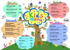 Cute colorful meal kids menu template with cute little monsters. And tree house Royalty Free Stock Photos