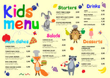 Cute colorful meal kids menu template with cute little sweet houses. Cute colorful meal kids menu template with cute little monsters. For cafe, restaurant Royalty Free Stock Image