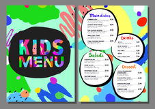 Cute colorful meal kids menu template. royalty free illustration