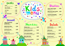 Cute colorful meal kids menu template. Vector illustration Royalty Free Stock Photos