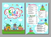 Cute colorful meal kids menu template. Vector illustration Stock Photos