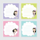 Cute colorful mermaid girl frame  cartoon illustration Royalty Free Stock Images