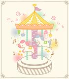 Cute Colorful Merry Go Round Ride Vector. Colorful Carousel / Merry Go Round Ride Vector Illustration Royalty Free Stock Image