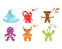 Cute colorful monster set Royalty Free Stock Photos