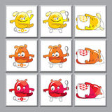 Cute colorful monsters icons. Set of funny icons for kindergarten Stock Image
