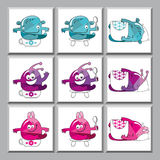 Cute colorful monsters icons. Set of funny icons for kindergarten Stock Images