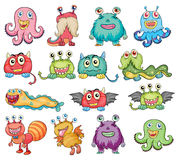 Cute and colorful monsters. Illustration of the cute and colorful monsters on a white background Royalty Free Stock Photography