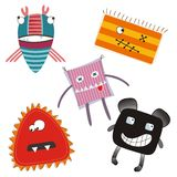 Cute colorful monsters. Set of 5 colorful monsters Stock Photos