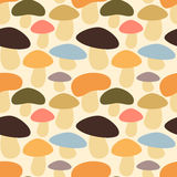 Cute colorful mushrooms seamless pattern background illustration Stock Photos