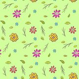 Cute colorful naive hand drawn floral pattern. Cute colorful naive hand drawn floral seamless pattern. Bright doodle texture with flowers, leaves and branches on Stock Images
