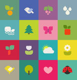 Colorful nature. Icons set. Vector illustration Stock Images