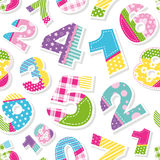 Cute colorful numbers pattern Stock Image