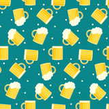 Cute colorful oktoberfest seamless pattern with tasty beer pints stock illustration