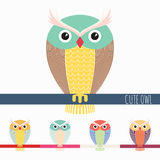 Cute colorful owl. Cartoon set of autumn bird Stock Photos
