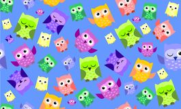 Cute colorful owl. Pattern on blue background Stock Image