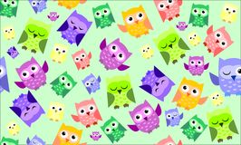 Cute colorful owl. Pattern on mint green background Royalty Free Stock Image
