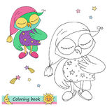 Cute colorful owl with pink cap and dress with stars. Vector illustration of sleeping bird in cartoon style, linear drawing. Black and white, colorful images Stock Images
